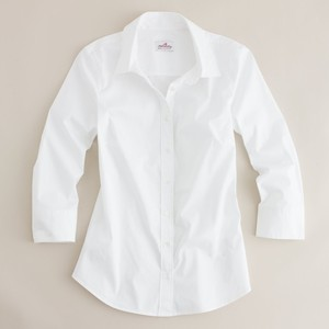 J.Crew Three-Quarter Sleeve Stretch Perfect Shirt in white