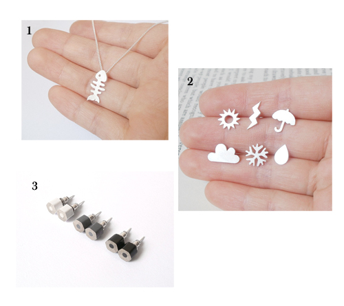 1 Fishbone necklace ; 2 Weather forecast ear studs ; 3 Color pencil earrings stud in black and white
