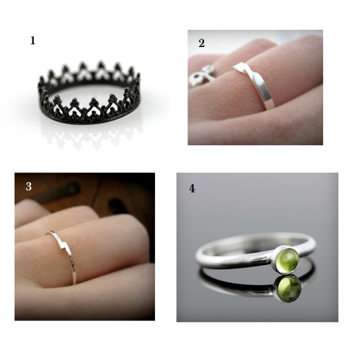 1 Black crown ring, 2 Moebius ring, 3  Bypass ring, 4 Peridot ring