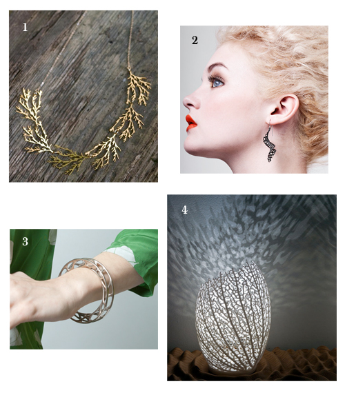 1 Filament necklace in gold, 2 Spiral earrings in black, 3 Convolution bangle, 4 Hyphae lamp